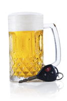 Concept of Drinking and Driving, beer and a car key